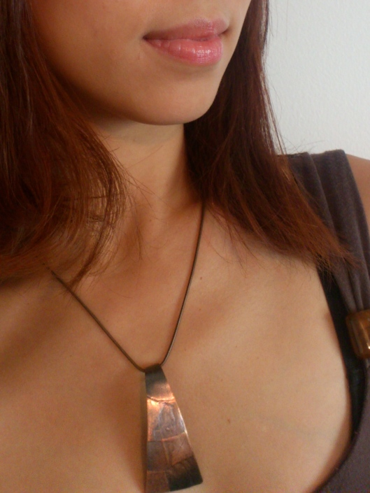 rollerprinted patina copper necklace on copper chain