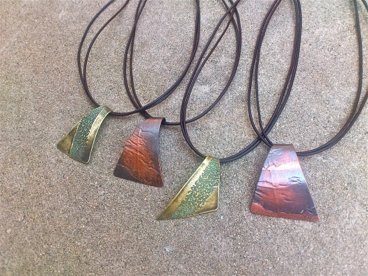 rollerprinted patina necklaces